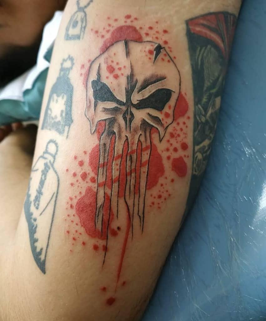 upper arm punisher skull tattoo anie._.banie