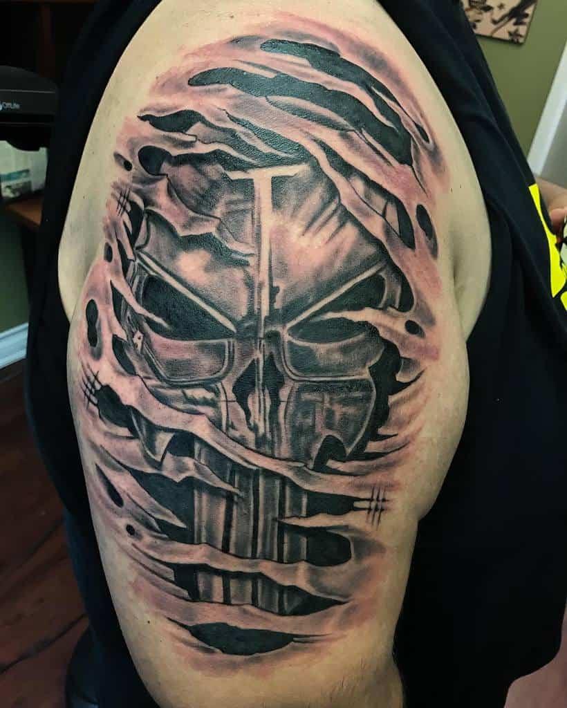 upper arm punisher skull tattoo eddielollis