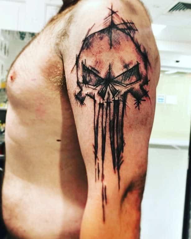 upper arm punisher skull tattoo familydreamztattoo
