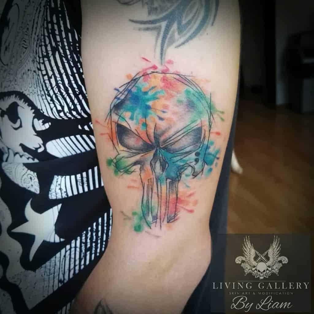 upper arm punisher skull tattoo living_gallery_tattoos