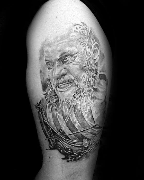 Upper Arm Ragnar Mens Tattoo Designs