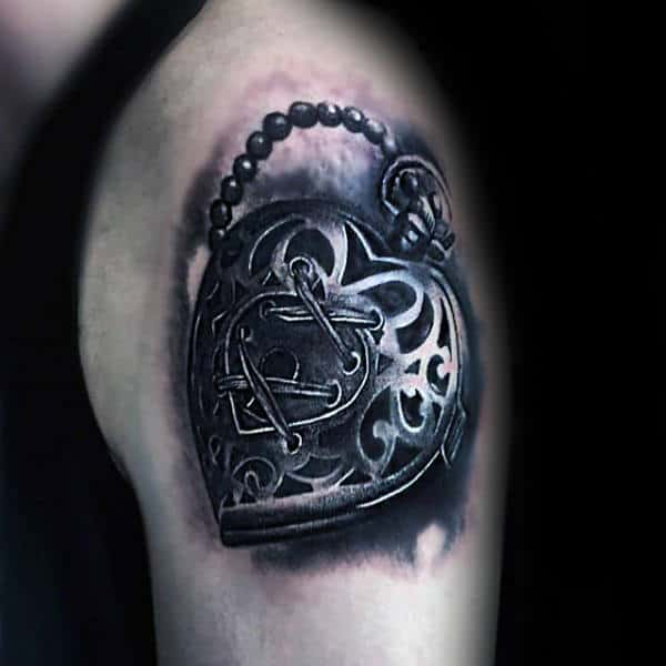 Upper Arm Realisitc 3d Heart Lock Mens Tattoo Design Ideas