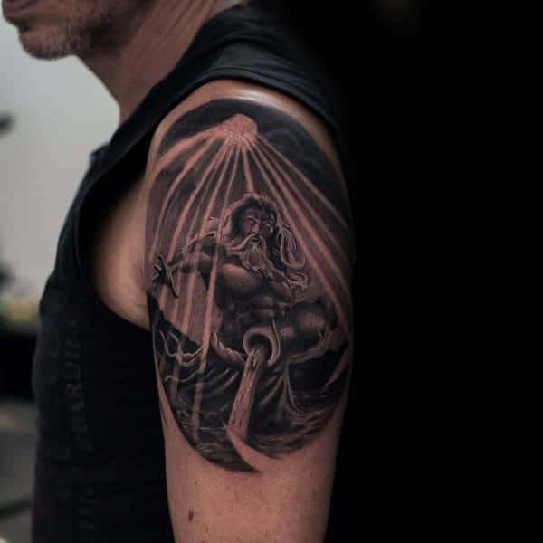 Upper Arm Realistic 3d Aquarius Male Tattoo Designs