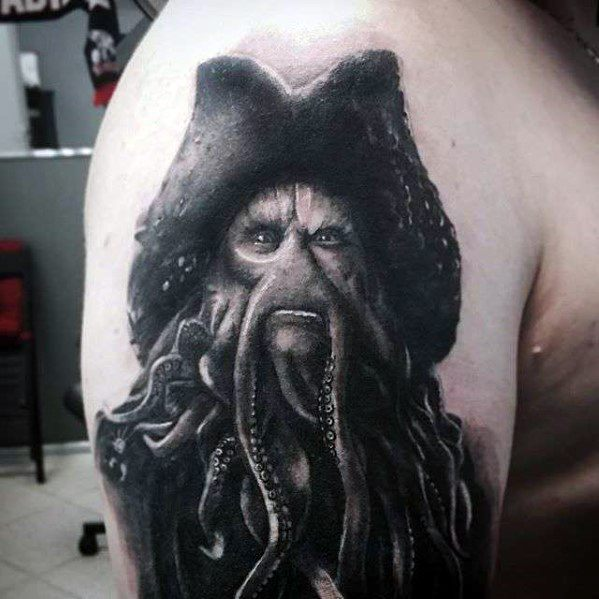 Upper Arm Realistic 3d Davy Jones Tattoos Guys