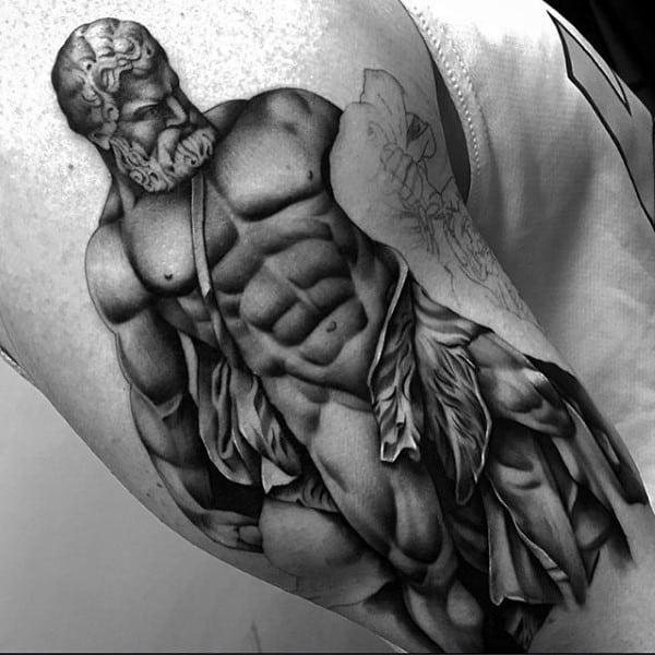 Upper Arm Realistic Hercules Male Tattoo Ideas