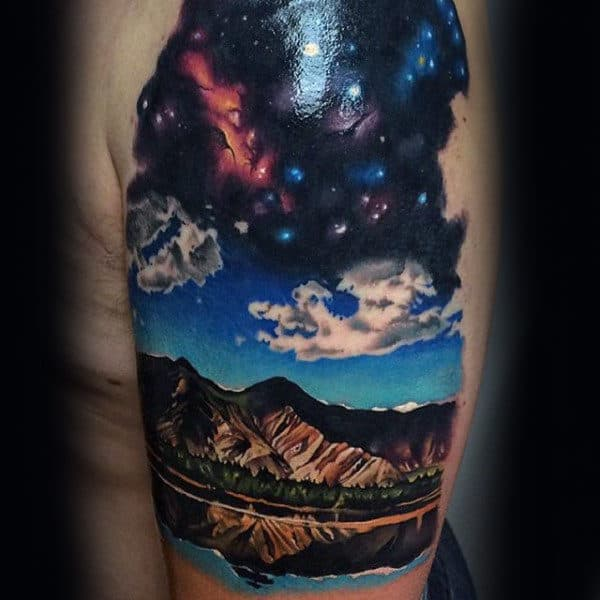 Upper Arm Realistic Mens Sky Tattoos With Mountains And Clouds