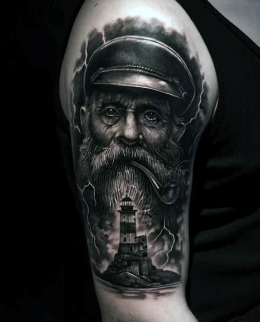 Upper Arm Realistic Nautical Sailor With Lighthouse Mens Tattoos