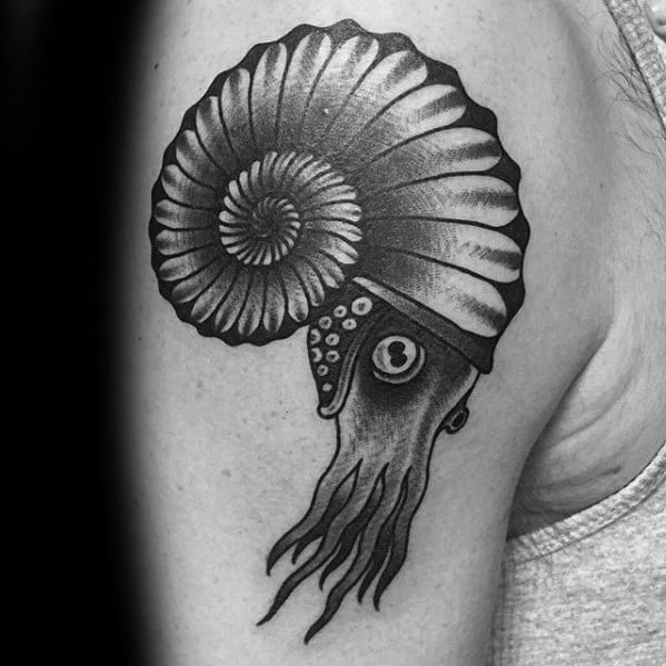 Upper Arm Retro Distinctive Male Ammonite Tattoo Designs