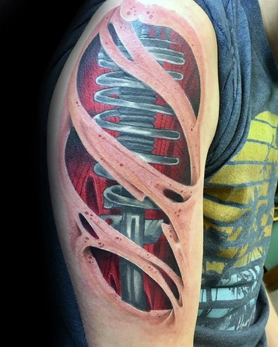 Upper Arm Ripped Skin 3d Sharp Suspension Male Tattoo Ideas