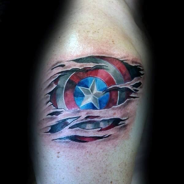 Upper Arm Ripped Skin Guys Shield Captain America Tattoo