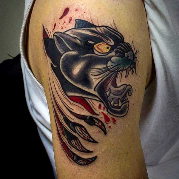 Upper Arm Ripped Skin Manly Panther Tattoos Designs