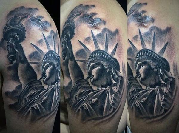 Upper Arm Shaded Lady Liberty Mens Tattoo