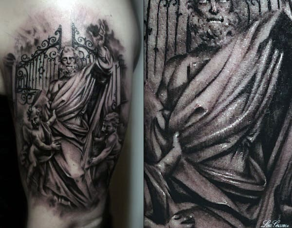Upper Arm Shaded Male Heaven Gate Tattoo With God Standing In Front