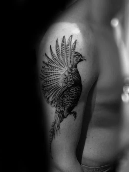 Upper Arm Shaded Pheasant Male Tattoos