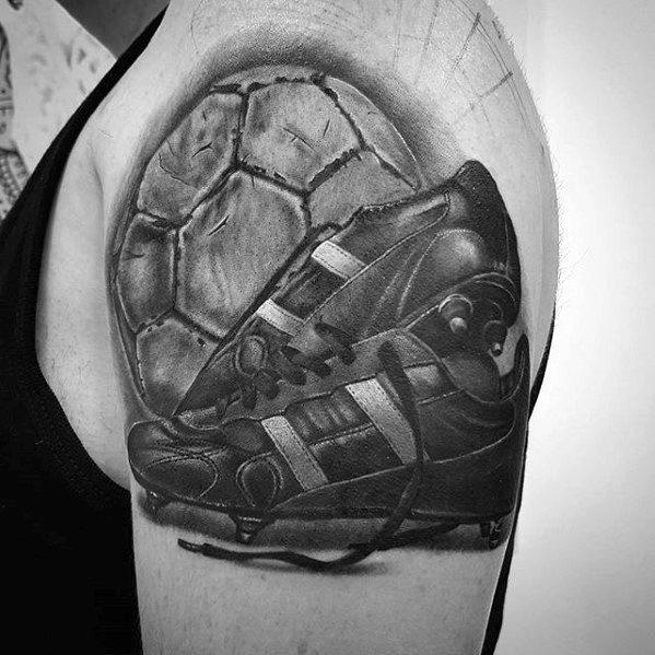 Upper Arm Sharp Sports Male Tattoo Ideas