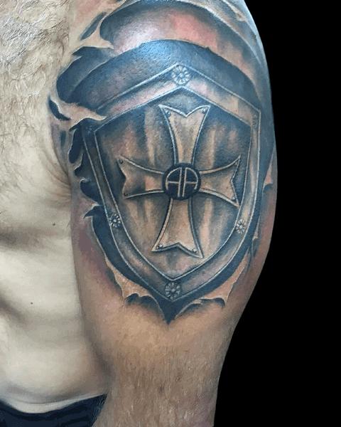 Upper Arm Sheild Male Tattoo
