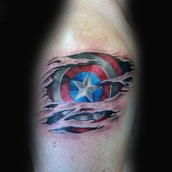 Upper Arm Shield Captain America Tattoo On Man