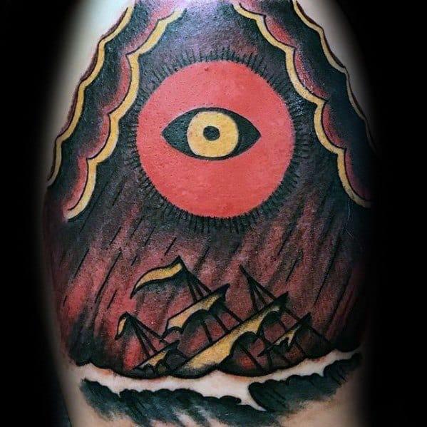 Upper Arm Shipwreck Male Tattoos