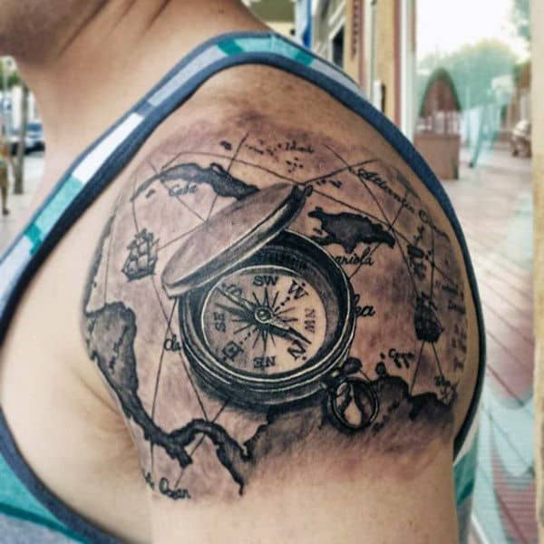 50 world map tattoo designs for men adventure the globe for Tattoo ideas men shoulder