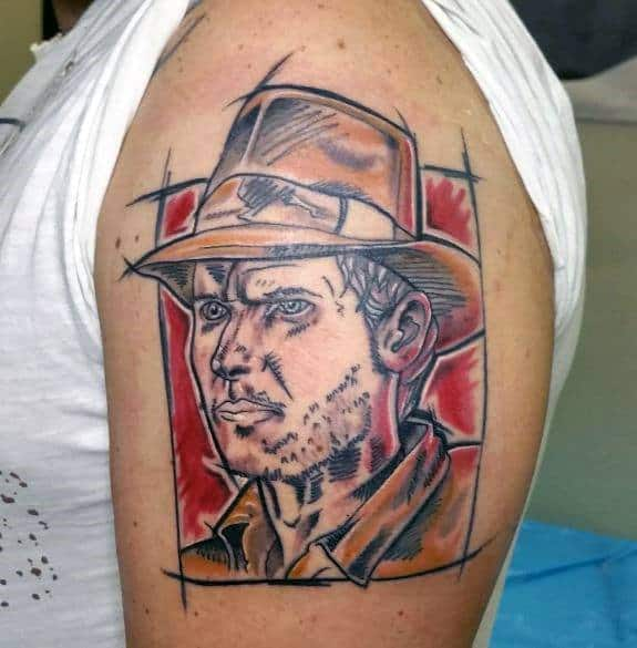 Upper Arm Sketched Indiana Jones Tattoo Designs For Men