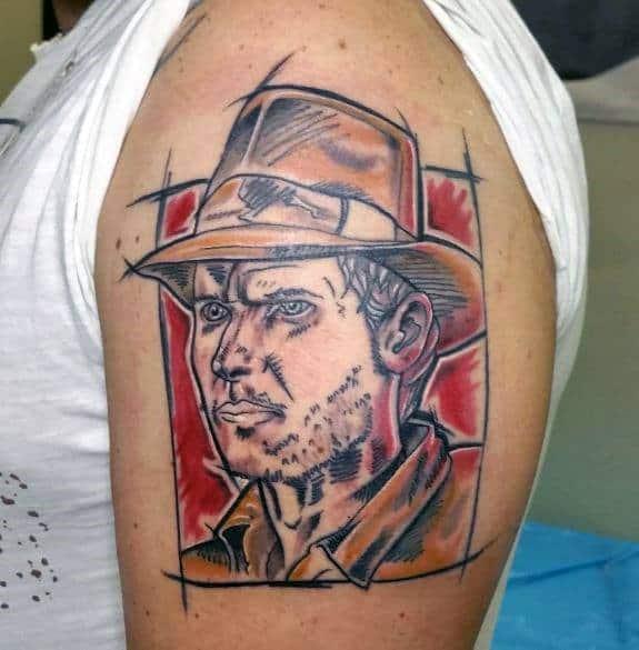 Upper Arm Sketched Indiana Jones Tattoo Designs For Men