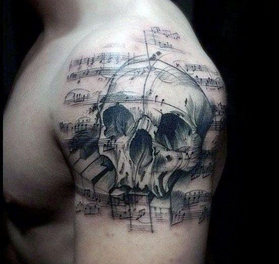Upper Arm Skull Music Staff Male Tattoo Designs