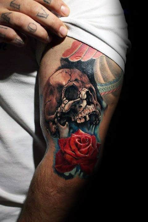 Upper Arm Skull With Realistic Rose Manly Tattoo Ideas For Men