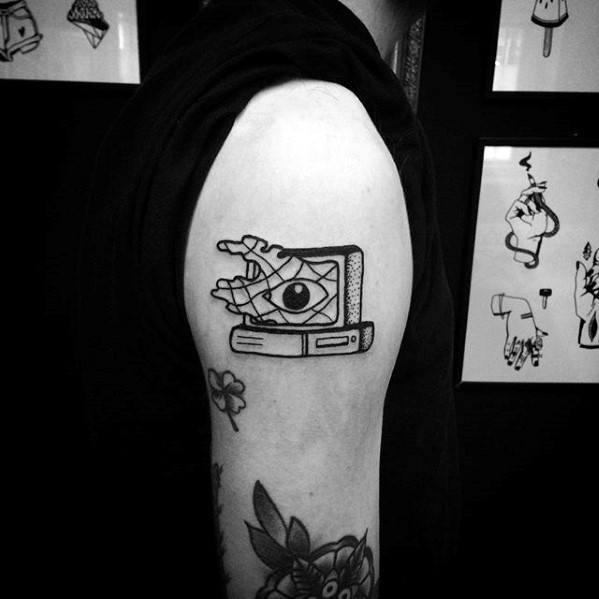 Upper Arm Small Computer Tattoos For Gentlemen