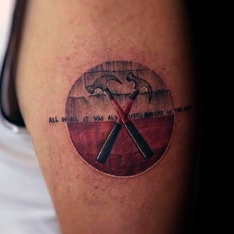 Upper Arm Small Hammer Pink Floyd Mens Tattoo Designs