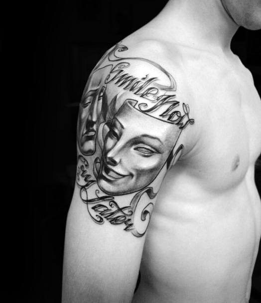 Upper Arm Smilie Now Laugh Later Drama Mask Tattoos Male