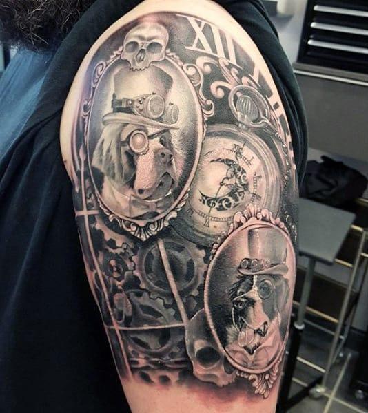 Upper Arm Steampunk Dog Tattoo Men