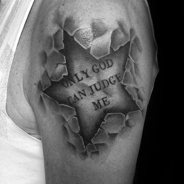 Upper Arm Stone Only God Can Judge Men 3d Star Guys Tattoos