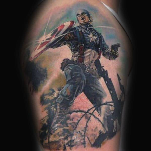 Upper Arm Superhero Captain America Guys Tattoo Ideas