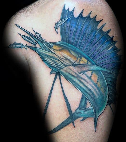 Upper Arm Swordfish Mens Tattoo Ideas