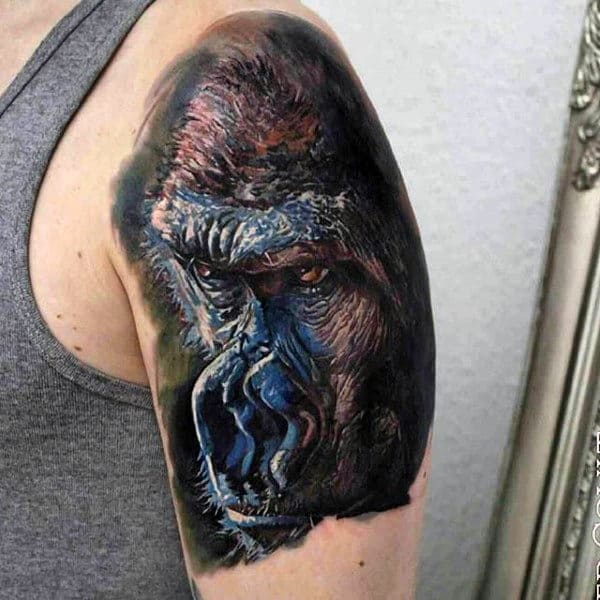 Upper Arm Tattoo Of Gorillas Face For Men