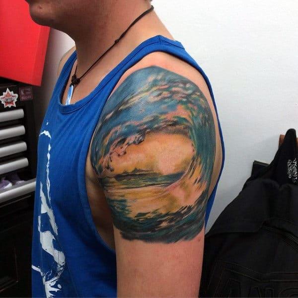 Upper Arm Tattoo Water Designs On Men