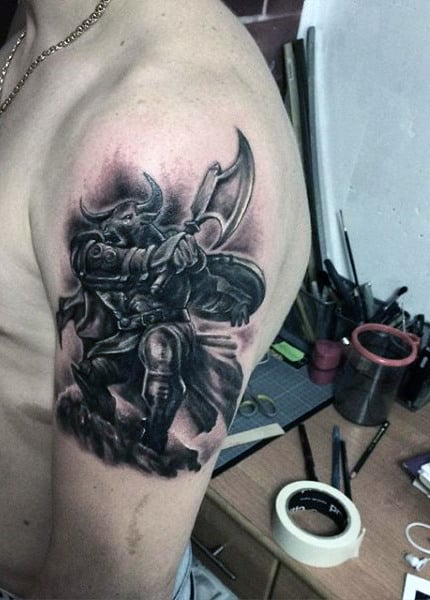 Upper Arm Tattoos Of Bull Man