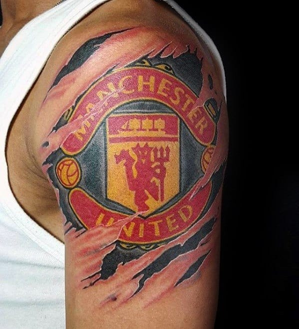 Upper Arm Torn Skin 3d Manchester United Guys Tattoos