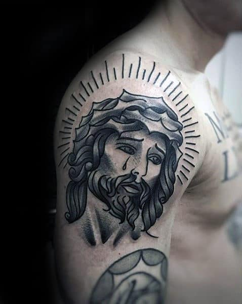 Upper Arm Traditional Jesus Portrait Tattoo Design For Males