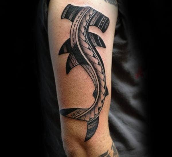 Upper Arm Tribal Hammerhead Shark Male Tattoo Ideas