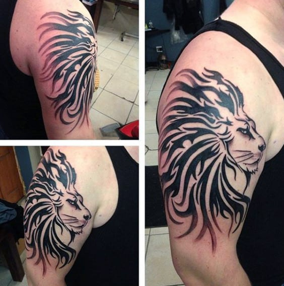 Upper Arm Tribal Lion Male Tattoos