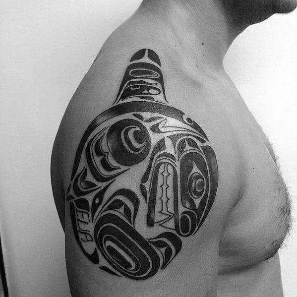 Upper Arm Tribal Orca Tattoos Guys