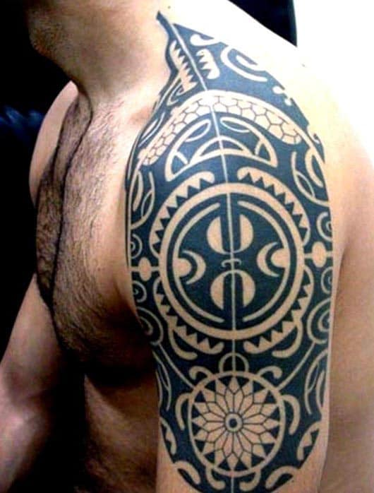 Upper Arm Tribal Tattoos For Men