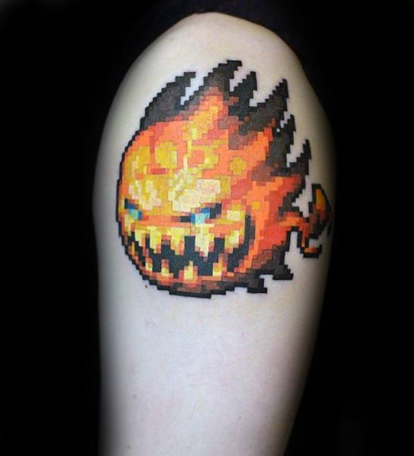 Upper Arm Video Game Pixel Mens Tattoo Ideas