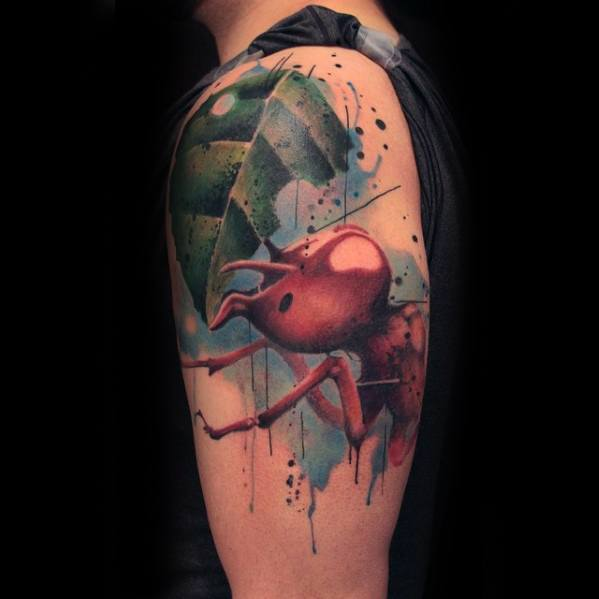 Upper Arm Watercolor Ant Guys Tattoo Designs
