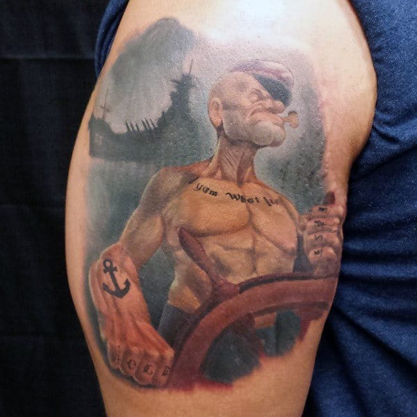 Upper Arm Watercolor Out At Sea Popeye The Sailor Man Tattoo
