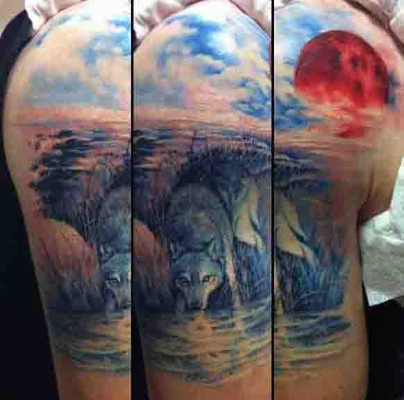 Upper Arm Wolf And Moon Tattoo For Guys