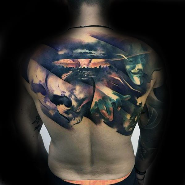 Upper Back 3d Amazing Mens Morph Tattoo Designs