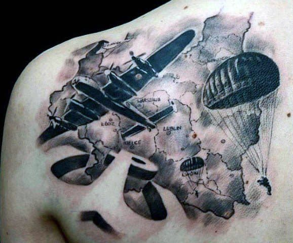 Upper Back 3d Military Plane Guys Parachute Tattoos