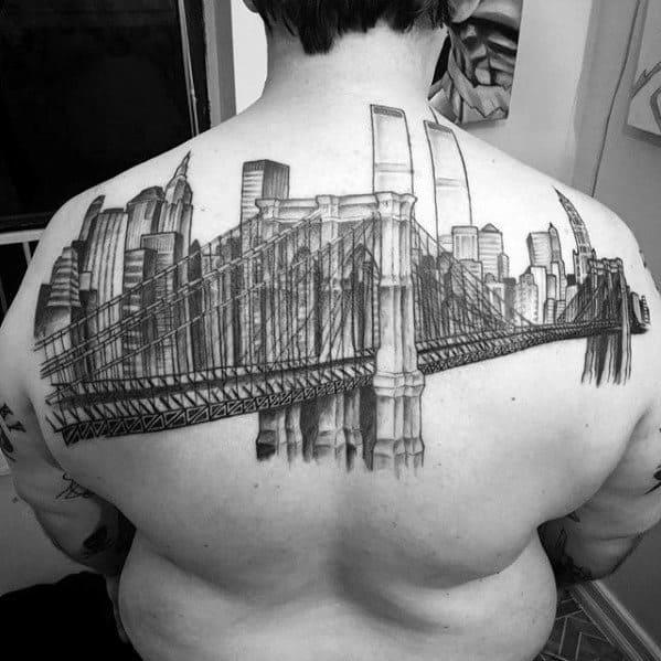 Upper Back 3d New York Skyline Male Tattoos